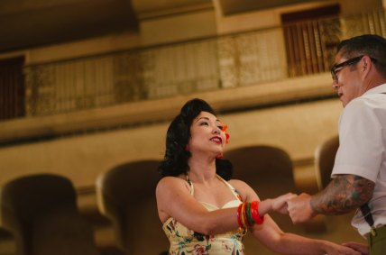 Dancing in the Fred Harvey Room during the 75th Anniversary celebration. Photo by Steve Hymon/Metro.