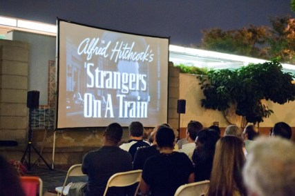 Screening of Alfred Hitchcock's Strangers on a Train in the North Patio, in September 2013. The event was presented in partnership with the Echo Park Film Center.