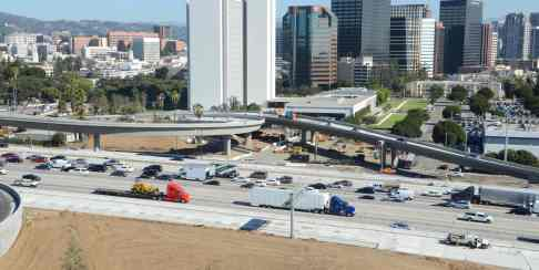 The new Wilshire flyover ramps which opened in 2013. Photo by Ned Racine/Metro.