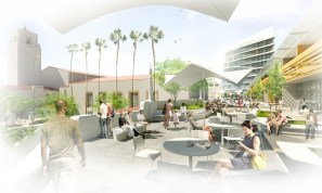 Sitting at a new plaza overlooking the historic patios – the view is looking north.