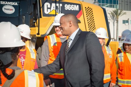 U.S. Transportation Secretary Anthony Foxx greeting workers at the groundbreaking. Photo by Steve Hymon/Metro.