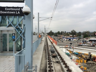In early November, phase one and phase two Expo Line tracks were connected just beyond Culver City Station. Photo: Expo Line Construction Authority.
