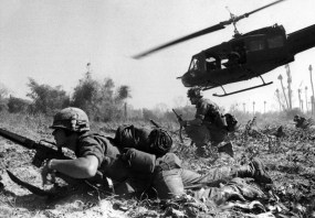 An Army helicopter climbs skyward after discharging a load of infantrymen on a search and destroy mission. Photo: U.S. Army via Wikimedia Commons.