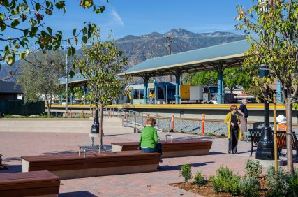 The transit plaza at Arcadia Station.