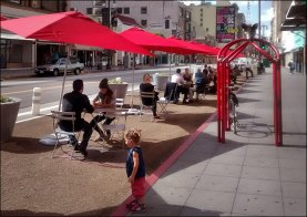 New pedestrian zones outside GCM are part of the Bringing Back Broadway initiative, now in it's 7th year (Richard Risemberg Flickr/CC).
