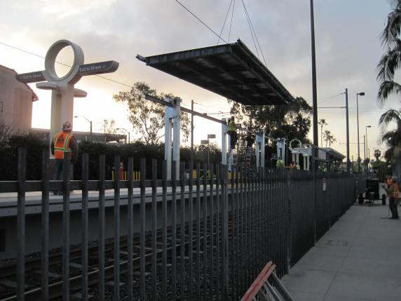 New canopy being installed at Willow Street Station last weekend. Photos: Metro