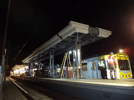 New aluminum cladding panels and LED lighting (in the background) at Wardlow Station.