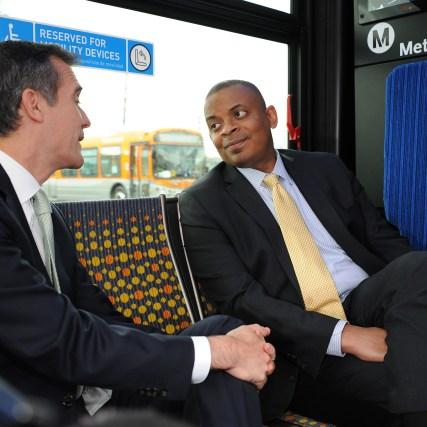 Mayor Garcetti and Secretary Foxx on board a Metro bus en route to Division 13. Photo: Juan Ocampo/Metro