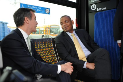 Mayor Garcetti and Secretary Foxx on board a Metro bus en route to Division 13. Photo: Juan Ocampo/Metro