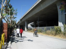 Pedestrian and bicyclist dedicated pathways are limited at the current station.