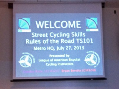 Street Cycling Skills class held at Metro HQ in 2013
