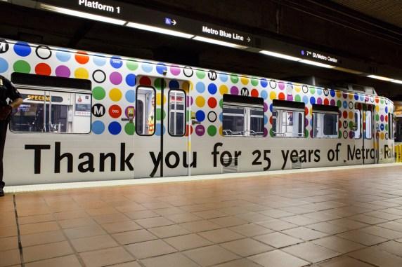 Metro Rail 25th anniversary commemorative train cover. Photo: Peter Watkinson/Metro
