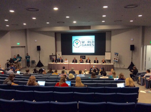 July 20 Special Olympics press conference at the Los Angeles Convention Center.