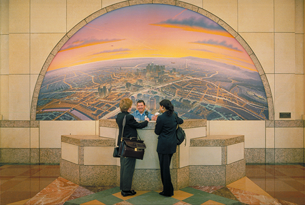 Detail of Los Angeles Circa 1870, 1910, 1960 and after 2000 by James Doolin. A series of four murals in the Metro HQ lobbies feature the evolution of transportation systems in Los Angeles.