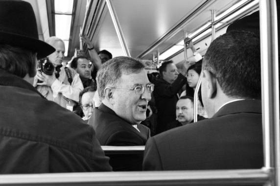 Metro Board Member and Duarte Councilman John Fasana on the Gold Line extension Wednesday morning. Photo by Steve Hymon/Metro.