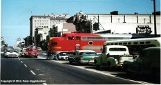 The Super Chief crosses Colorado Boulevard in Pasadena in 1958. Photo by Photo by Peter Higginbottom.