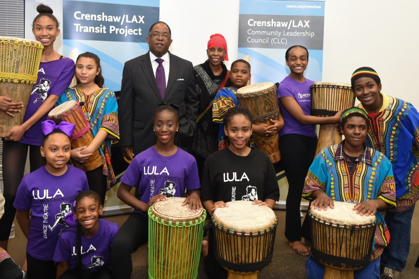 Metro Board Chair and L.A. County Supervisor Mark Ridley-Thomas with performers from Lula Washington Dance Theatre. Photo: Martin Zamora / LAC