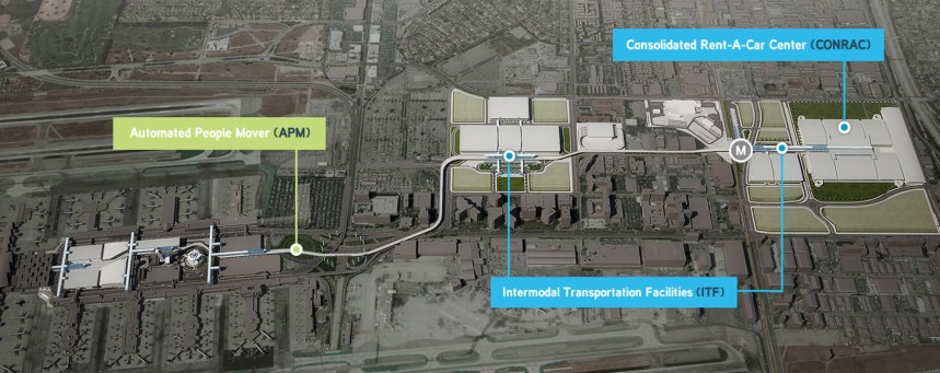 Another view showing the people mover route and Airport Metro Connector location.