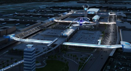 A Los Angeles World Airports rendering of the people mover's stations near the LAX terminals.