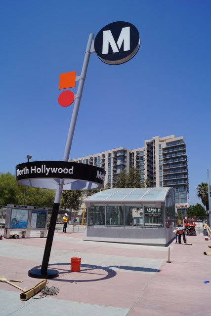 Metro Pin in place with new station portal and information display cases in background.