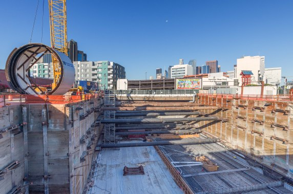 The pit for the 1st/Central Station in Little Tokyo. Photos by Steve Hymon/Metro