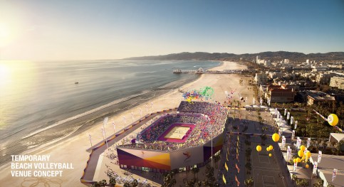 A conceptual rendering of the Olympic stadium for beach volleyball, which would be a short walk, bike ride or bus ride from the Expo Line's Downtown Santa Monica Station: Credit: LA 2024 Bid Committee.