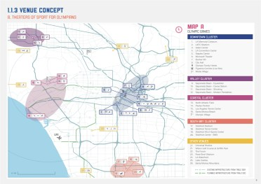 The LA 2024 Bid Committee's map showing the primary venues for a 2024 Summer Olympics. Credit: LA 2024 Bid Committee.