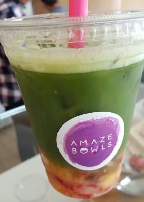 Matcha fruit drink.