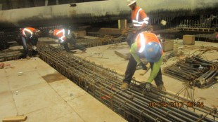 Components of the concourse level beams at Expo/Crenshaw Station.