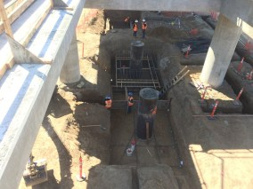 Reinforcement installations for the foundation of elevators at Century and Aviation boulevards.