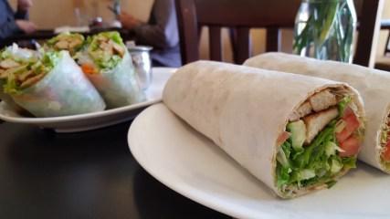 Garlic chicken wrap and fresh spring roll.