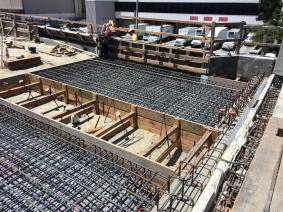 Work on the structure that will carry trains to the junction with the Crenshaw/LAX Line.