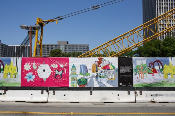 Artwork Banner at Hope Street and 2nd Place construction site.