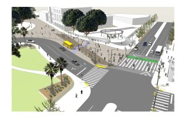 Rendering of the expanded plaza and crosswalk across both Los Angeles and Alameda streets.