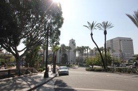 Present day view down Los Angeles Street toward Alameda and Union Station.
