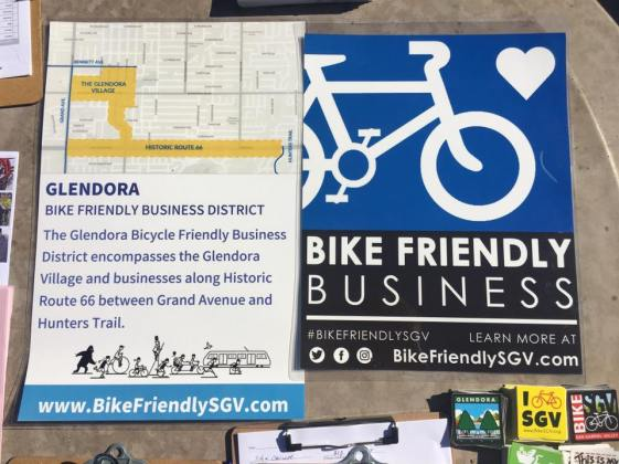 New signs for Glendora's new Bike Friendly District.