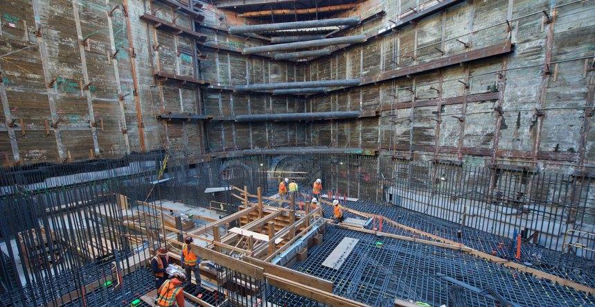 Station construction at the future Grand Av Arts/Bunker Hill Station. Photograph by Gary Leonard, 2017.