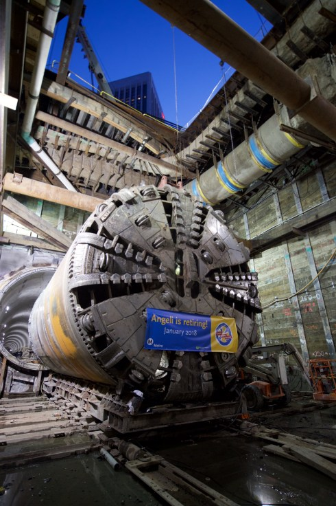 The tunnel boring machine after completing the second of two tunnels under downtown LA. Photo by Gary Leonard.