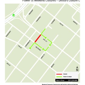 Flower St weekend closures, July 2018 - Detour C