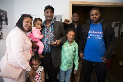 Al Flowers (center) with family and supporters
