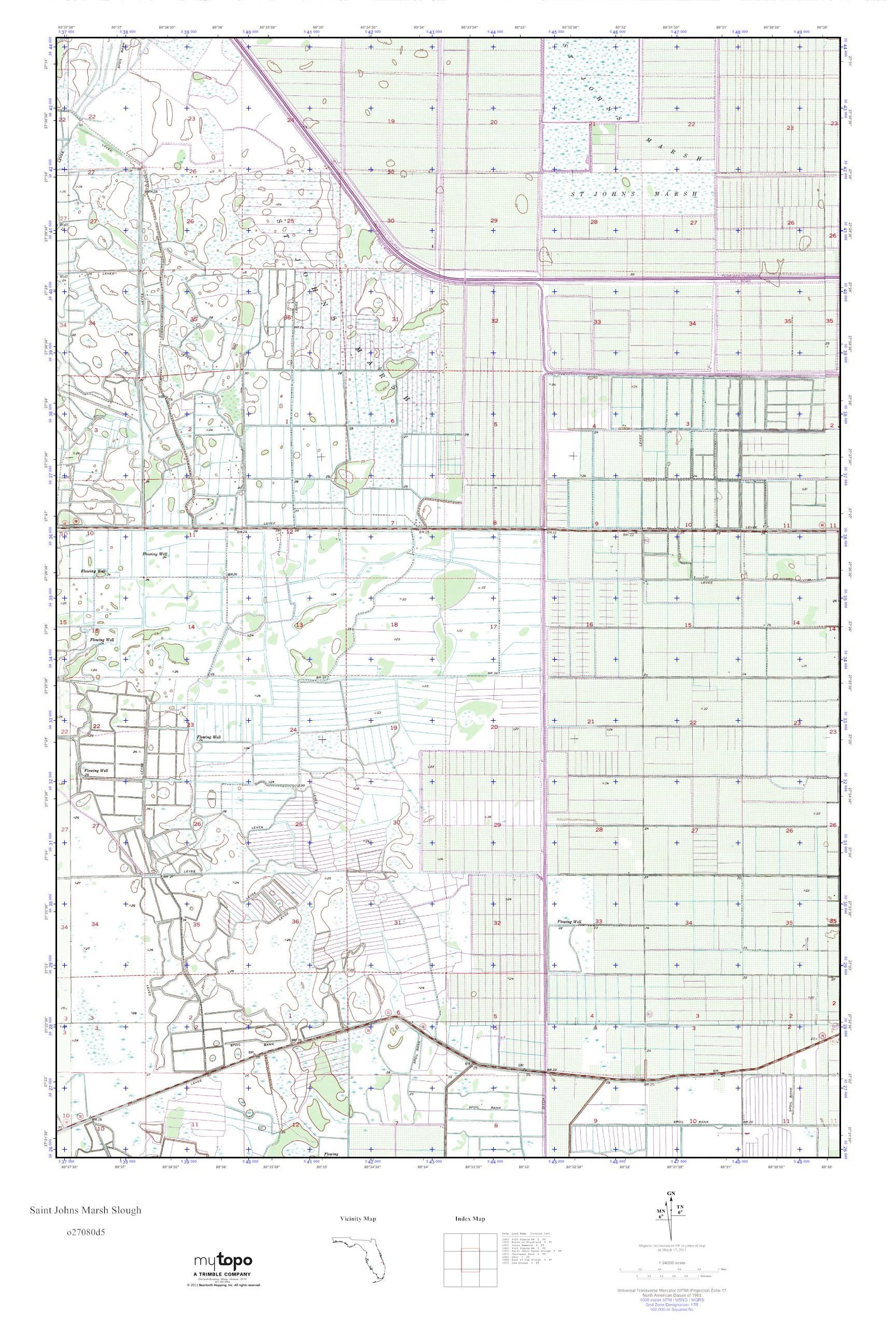 Mytopo Saint Johns Marsh Slough Florida Usgs Quad Topo Map