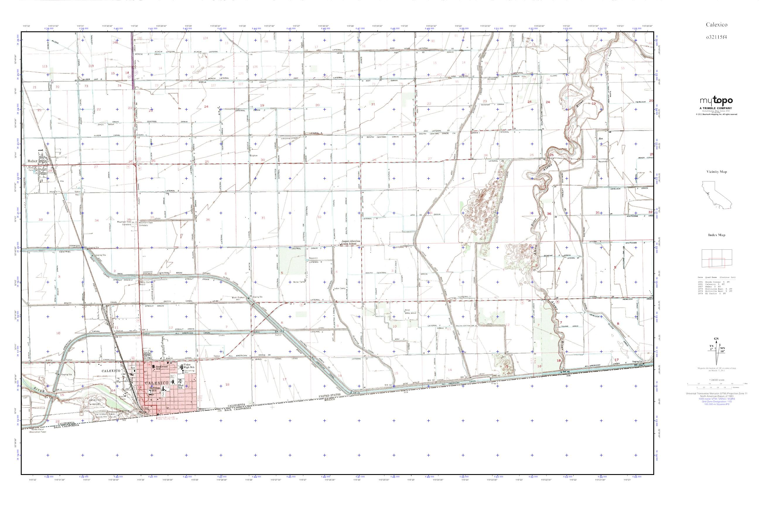 MyTopo Calexico, California USGS Quad Topo Map