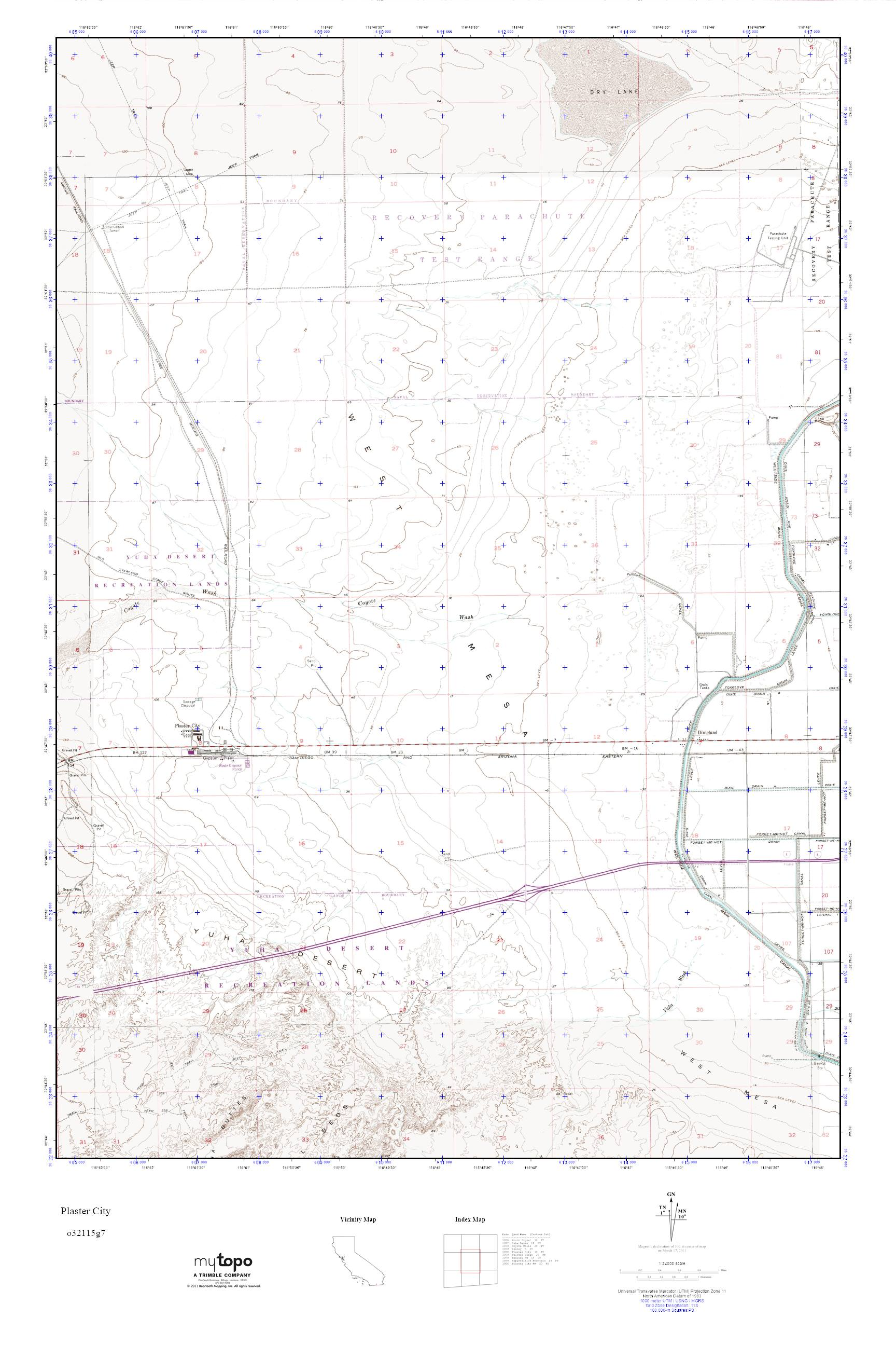 MyTopo Plaster City, California USGS Quad Topo Map