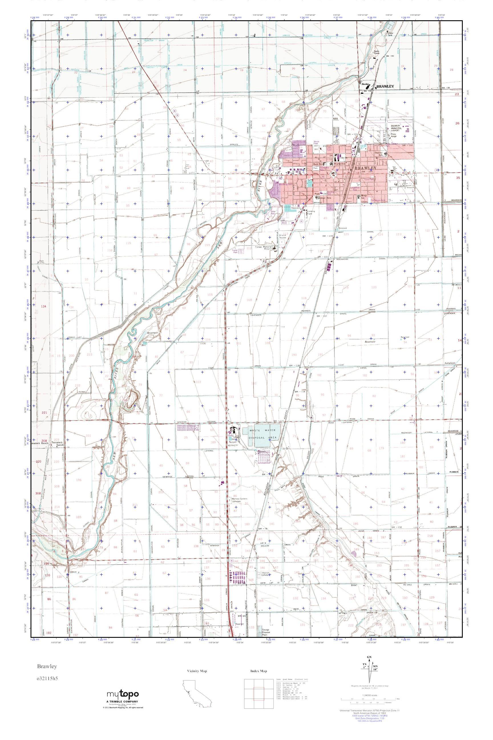MyTopo Brawley, California USGS Quad Topo Map