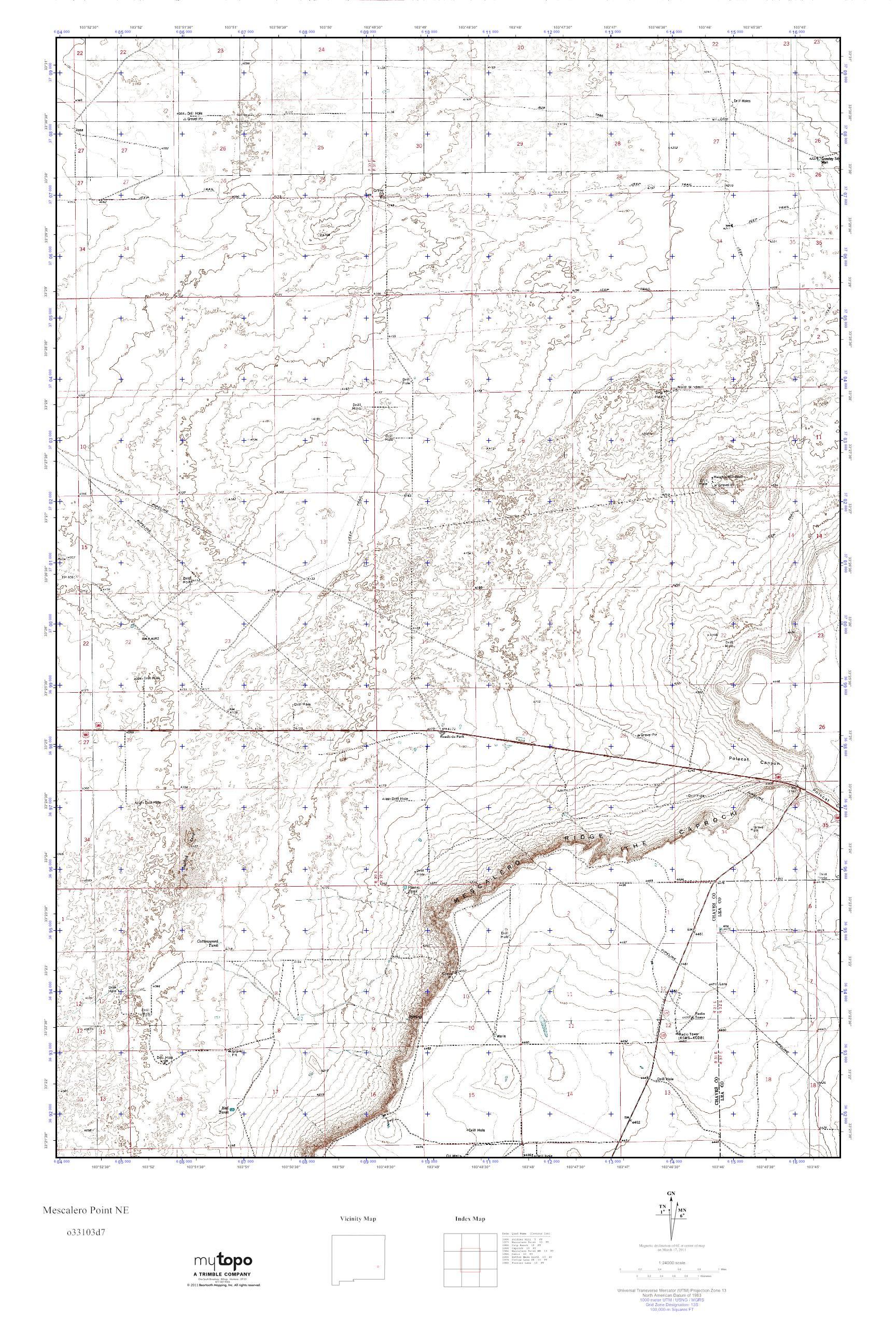 MyTopo Mescalero Point NE, New Mexico USGS Quad Topo Map