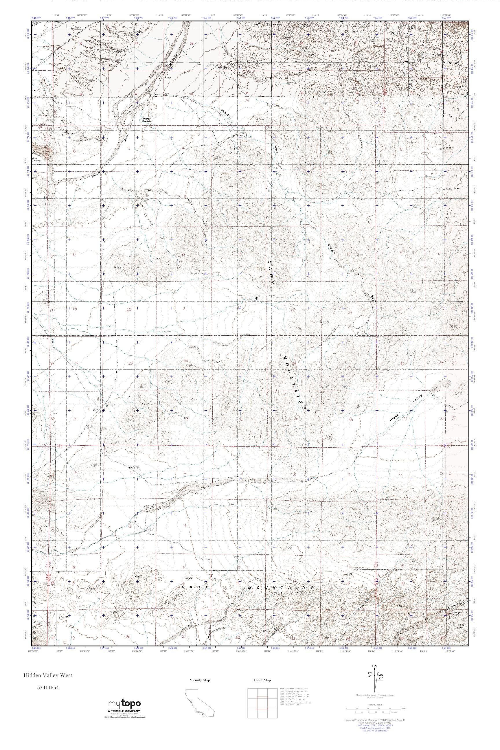 MyTopo Hidden Valley West, California USGS Quad Topo Map