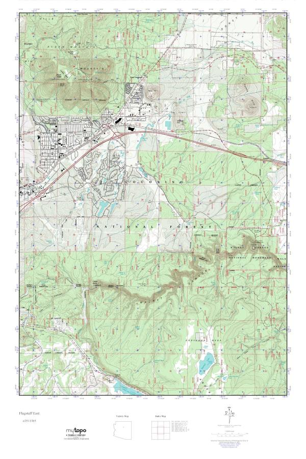 MyTopo Flagstaff East Arizona USGS Quad Topo Map