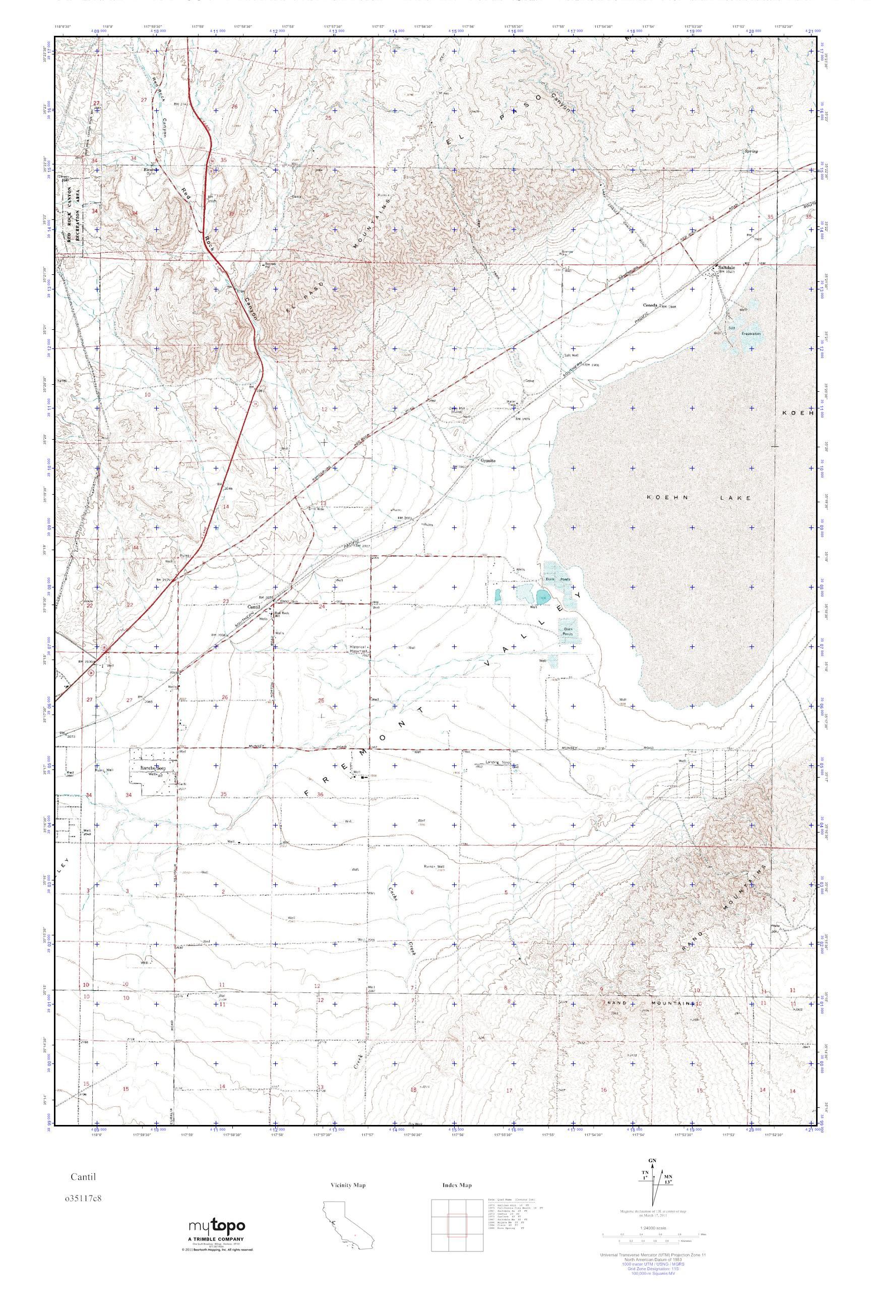 MyTopo Cantil, California USGS Quad Topo Map