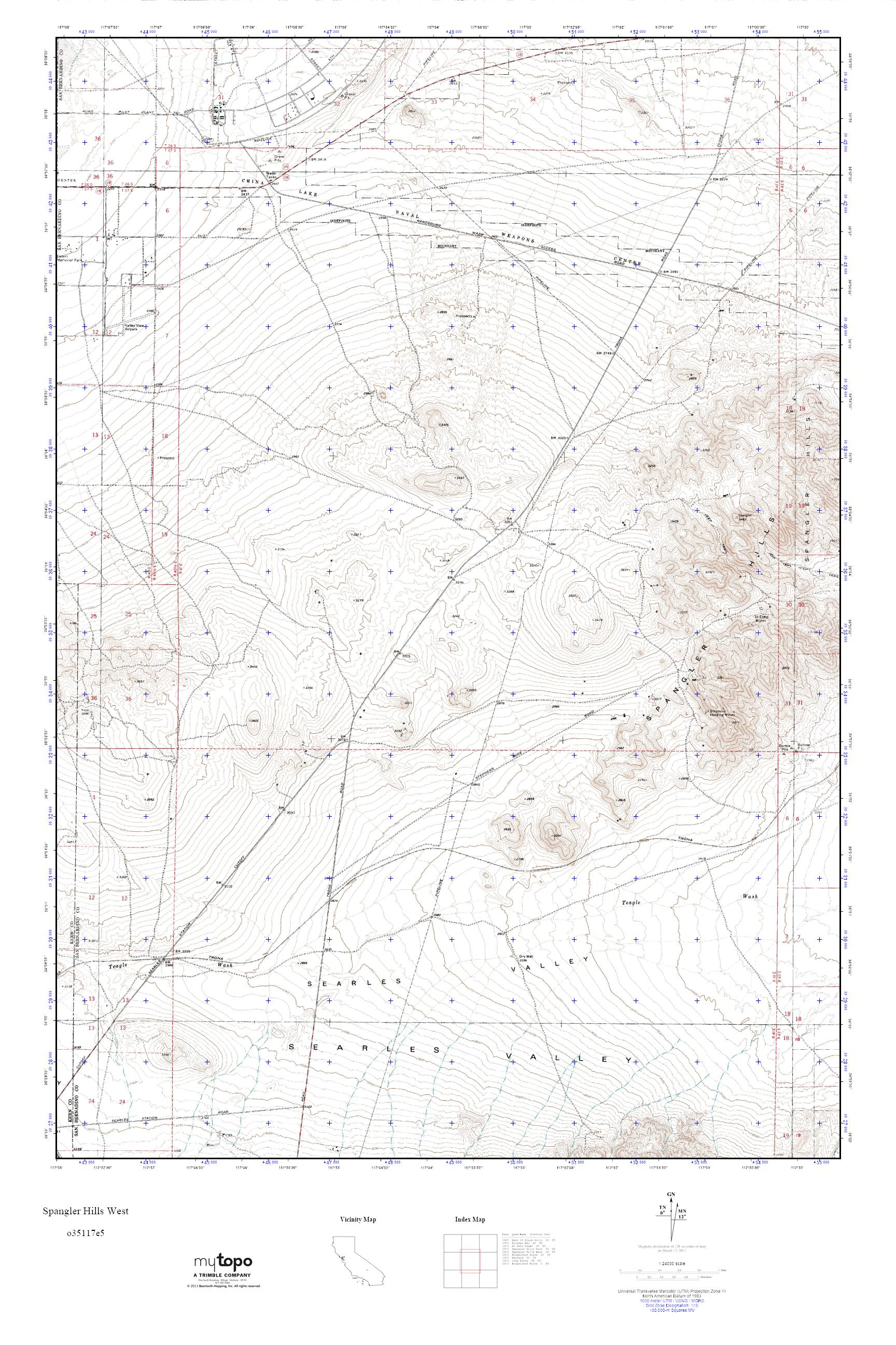 MyTopo Spangler Hills West, California USGS Quad Topo Map