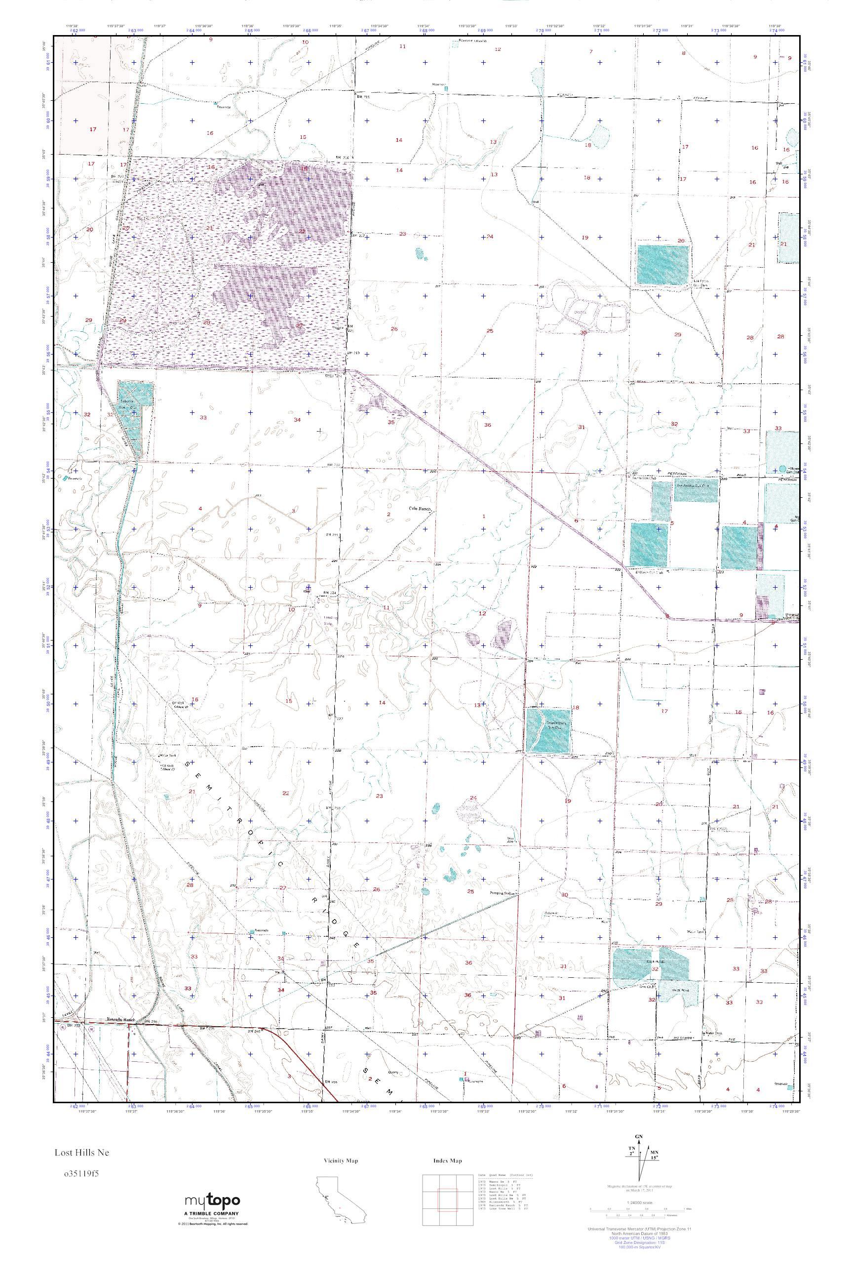 MyTopo Lost Hills Ne, California USGS Quad Topo Map